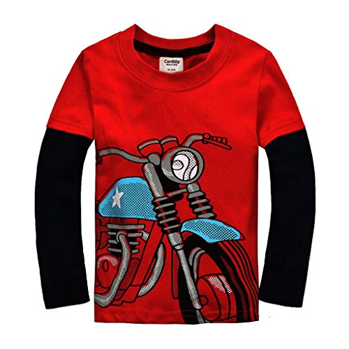 Coralup Little Boys Long Sleeve  T-shirts CG31(Motorcycle,2-3 Years, Red)