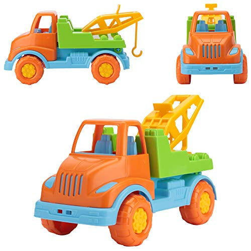 Tow Truck Toys for Boys - Car Carrier Truck Toy - Construction Vehicle Toys for Toddlers by Polesie - Orange/Green