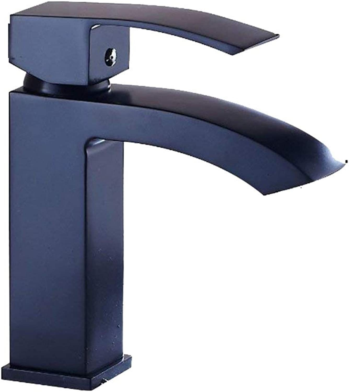 Elegant Black Brass Waterfall Bathroom Sink Tap Single Lever Mixer Bath Tap Bathroom Sink Tap Fitting for Bath Room, black