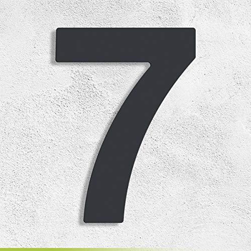 Trinoxx Design V2A Edelstahl Hausnummer Feinstruktur beschichtet RAL 7016 anthrazit - grau 16cm (7)