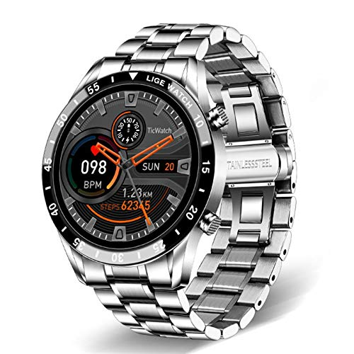 2021 Nuevo Reloj Inteligente Pantalla táctil Completa Sports Fitness Watch Waterproof Bluetooth Appeal Android iOS SmartWatch Hombres, Monsteramy (Color : Sliver1)