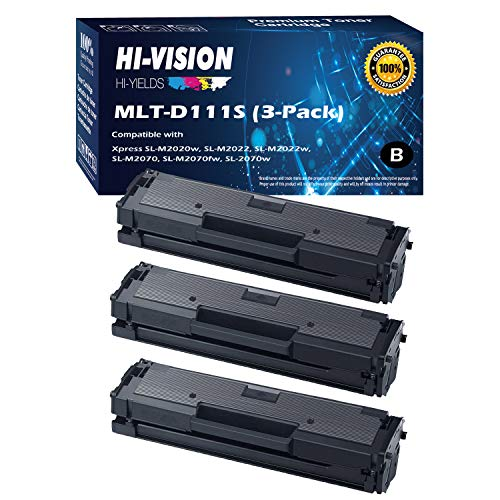 HI-VISION HI-YIELDS Compatible Toner Cartridge Replacement for Samsung MLT-D111S ( Black , 3 pk )