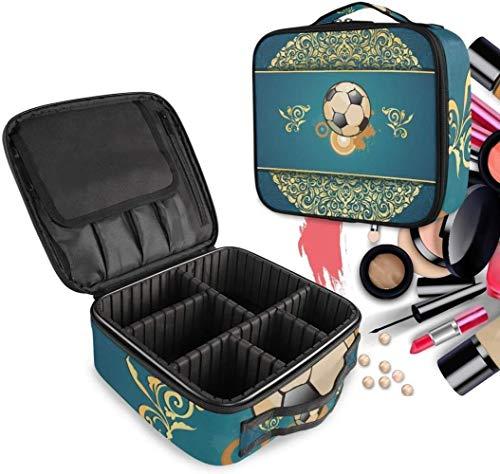 Cosmetische HZYDD Voetbal Kunst make-up tas Toilettas Rits Make-up Tassen Organizer Pouch voor Gratis Compartiment Vrouwen Meisjes tas