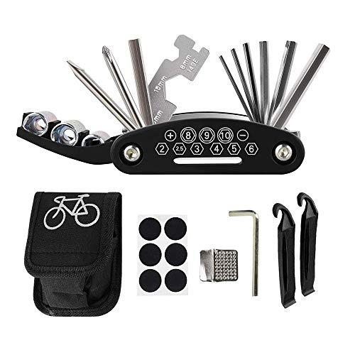 Feliciay, kit di riparazione per bici, kit di riparazione foratura, accessori per mountain bike, attrezzi multifunzione 16 in 1, leve per pneumatici, bici da strada