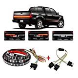 Wigbow 60' LED Tailgate Light Bar Double Row Running Brake Reverse Turn Signal Tail Lights Strip with 4 Way Flat Y-Splitter and Clean Cloth for Trucks Pickup SUV RV Van Jeeps Trailer