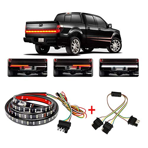"""Wigbow 60"""" LED Tailgate Light Bar Double Row Running Brake Reverse Turn Signal Tail Lights Strip with 4 Way Flat Y-Splitter and Clean Cloth for Trucks Pickup SUV RV Van Jeeps Trailer"""