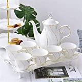Tea Sets For Adults 8 Pieces Gold Trim Glazed Porcelain Coffee And Tea Service With 6 Piece Cups And Tray Afternoon Tea Drinkware Coffee Set For Party And Dinner For Household