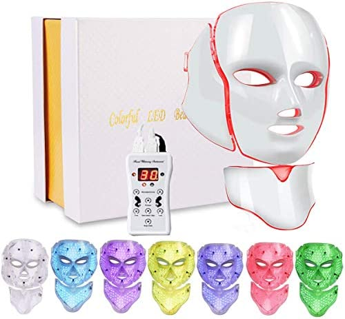 Led Face Mask 7 Color Facial Skin Care Mask with Blue Red Light Therapy Treatment for Skin Problem product image