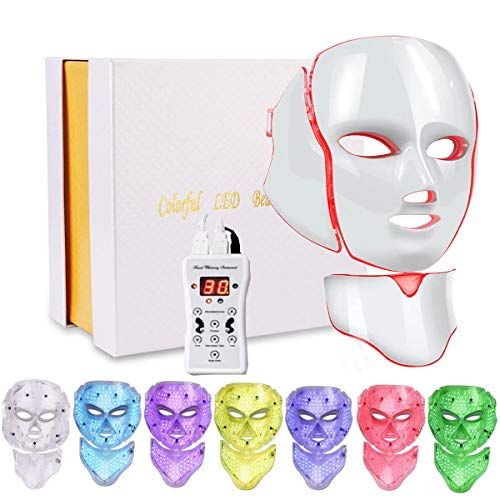 Led Face Mask 7 Color Facial Skin Care Mask with Blue & Red Light Therapy Treatment for Skin Problem Mask for Home SPA Use (Rose gold)