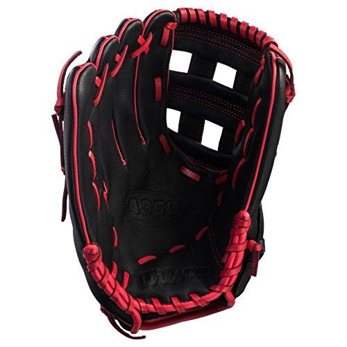 Wilson A360 30,5 cm (12 Zoll), rechts, Baseball-Handschuh, schwarz/rot