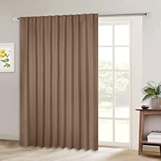 NICETOWN Blackout Blinds for Patio Door, Sliding Door Insulated Blackout Curtains, Extra Wide Curtain for Villa/Hall/Parlor (Cappuccino, 80 inches W x 84 inches L, Single Panel)