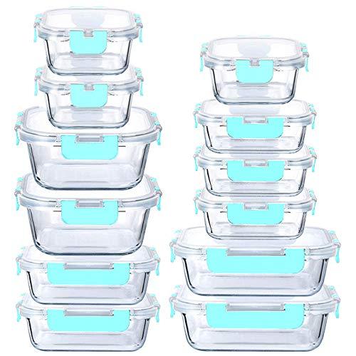 Contenedores de Cristal herméticos con tapas libres de BPA | Ideales para Guardar tus Alimentos y Utilizar en Horno Microondas y...