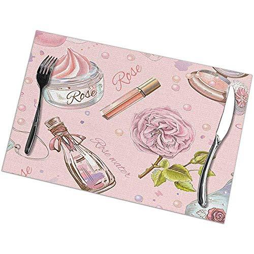 hdyefe Tischsets 6er-Set für Esstisch, Weihnachten Ostern und Feiertag Tischsets Rose Rose...
