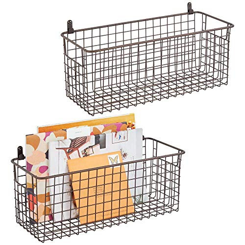mDesign Portable Metal Farmhouse Wall Decor Storage Organizer Basket Bin with Handles for Hanging in Entryway Mudroom Bedroom Bathroom Laundry Room - Wall Mount Hooks Included 2 Pack - Bronze