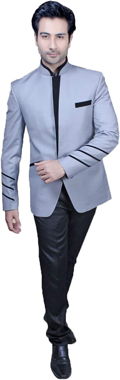 Indian Designer Partywear Traditional Ethnic Grey Mens Jodhpuri Suit. MENS2484-3-40