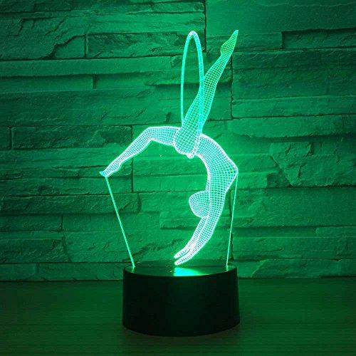 DGEG 3D Nachtlichter Lampen LED3D Modeschmuck Geschenke Gymnastik Bunte Verfärbung Ambiguität Ambiente Schreibtischlampen Baby Kinderzimmer Schlafzimmer (Farbe : Touch and Remote)