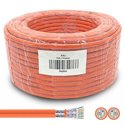 ARLI CAT 7 Verlegekabel Duplex 50m Netzwerkkabel CAT.7 Twin LAN Halogenfrei Installationskabel SFTP CAT7 PIMF Kabel Netzwerk Verkabelung Datenkabel AWG23/1 Gigabit Kupfer Ethernet Klasse F 50 m