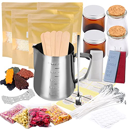 Candle Making Kit Supplies,Including Pot, Wicks, Sticker, Tins,Spoon & More Full Starter Kit for Creating Candles