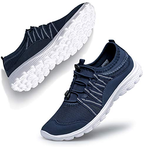 Belilent Womens Slip on Shoes Fashion Sneakers Walking Shoes Breathable Work Casual Nursing Athletic Gym go Walk Workout Women Shoes for Bowling Travel Zomba Navy/White 8.5 M US