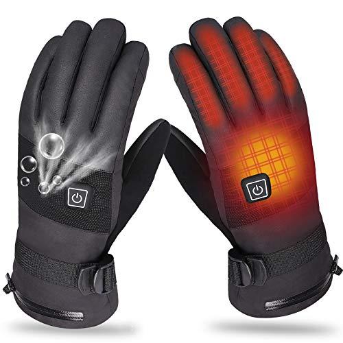 Beheizte Handschuhe für Herren Damen, 4000mAh Beheizte Lederhandschuhe Wiederaufladbare Lithium-Ionen-Batterie Beheizbare Handschuhe Fahrrad Motorrad Winterhandschuhe Ski-Handschuhe (7.4V 4000mAh)