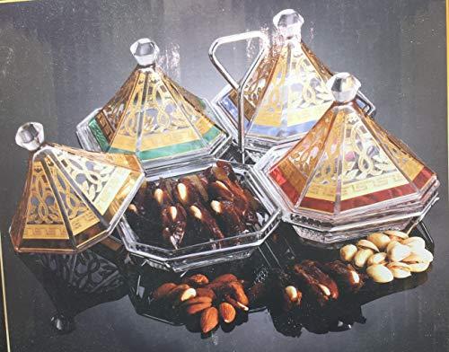 Set de 9 piezas de servidor de dulces estilo maroqui. Tazones Plato de Aperitivos de cristal con tapas, Plato de postres, Bandeja de Frutos Secos, Plato de Frutas,