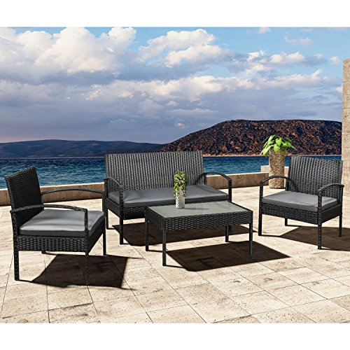 ArtLife Polyrattan Sitzgruppe Trinidad - Gartenmöbel Set mit Bank, Sessel & Tisch für 4 Personen - schwarz mit grauen Bezüge - Terrassenmöbel Balkonmöbel Lounge - 6