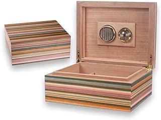 HUIJINCHAOSHI Cigarette Case, Cedar Wood Cigar Box, Solid Wood Portable Cigar Box, Creative Striped Cigar Box, 30, Color Stripes. Fashion