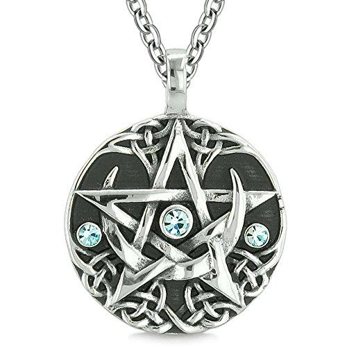 BestAmulets Amulet Pentacle Magic Super Star Celtic Flames Defense Blue Crystals Pentagram Pendant 18 Inch Necklace