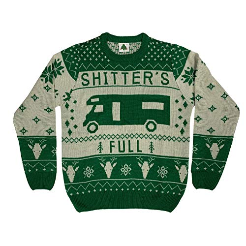 Christmas Vacation Shitter's Full Ugly Christmas Sweater Green (2X-Large)