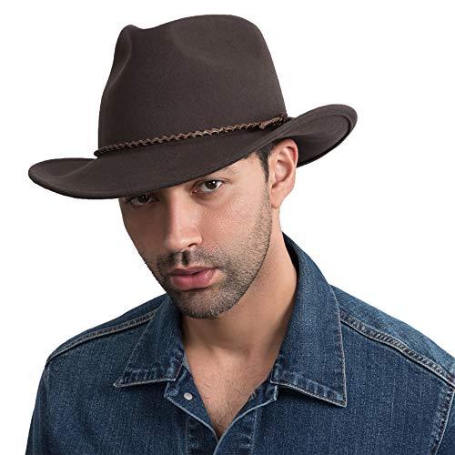 Sombrero de Vaquero Hombre Fieltro de Lana Marrón Western Outback Gambler Correa de Cuero de ala Ancha Ajustable Tallas-L