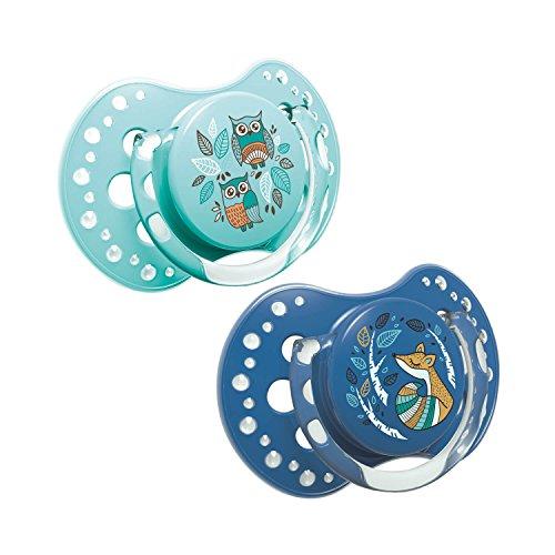 LOVI 2x dynamischer Silikon-Schnuller | ab 6 bis 18 Monate | Hygienische Abdeckung | Beruhigende Wirkung | Schützt den Saugreflex | BPA frei | Folky Boy | Blau