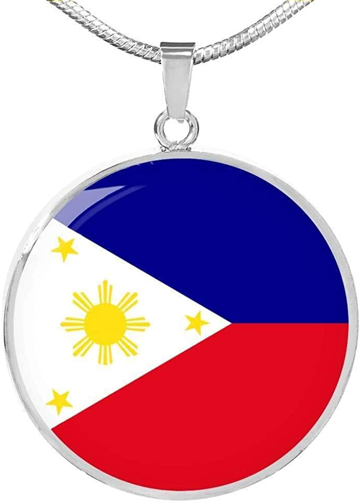 Long-awaited Express Your Under blast sales Love Gifts Filipino Necklace Flag Stainless Circle