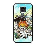 Coque fine en TPU pour Xiaomi Redmi Note 9 Pro/9S Anime The Promised-Neverland 3 Noir mat
