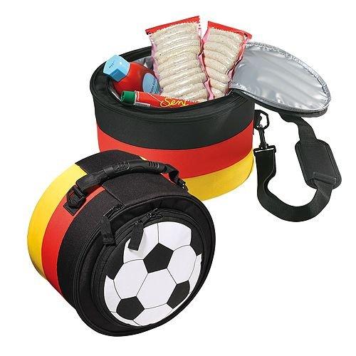 noTrash2003 Deutschland Fussball Grillset mit Kühltasche und Kohlegrill aus Metall im Deutschland-Look