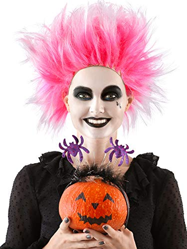2 Pieces Unisex Punk Wig 80s Rock Punk Wig Halloween Rocker Cosplay Wig for Party Cos Supply (Pink)