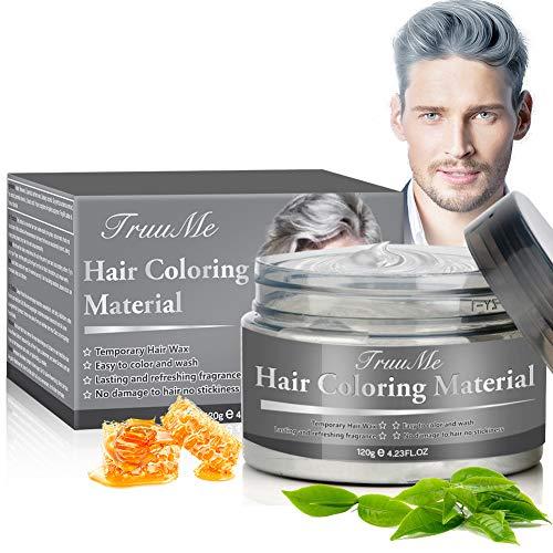 Haarfarbe Grau, Haarwachs, Hair Wax, Haarfarbe Wachs, Temporäre Haarwachs Grau, Silber Haarfärbemittel Wachs - Natürliche Haarwachs für Cosplay und Party(120g)