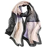 LDCSA Pañuelo Seda Mujer Cuello Bufanda Mantón Elegante Regalo de Mujer 175 X 65cm(Blanco negro)