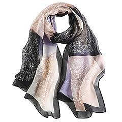 Idea Regalo - Foulard Donna Seta Sciarpa Leggero Lungo Elegante Naturale 100% Silk Scarf Regalo L-175 * 65cm (Nero)