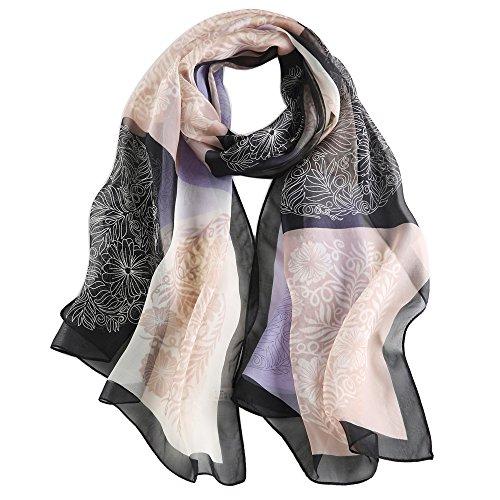 Foulard Donna Seta Sciarpa Leggero Lungo Elegante Naturale 100% Silk Scarf Regalo (Elegante nero)