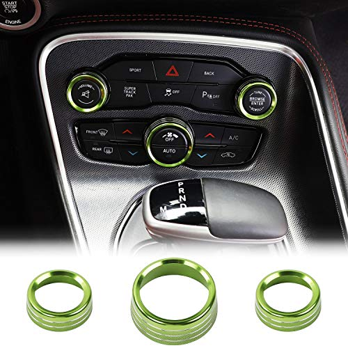 JeCar Audio Air Conditioning Button Trim Cover Aluminum Alloy AC Control Knob Cover for Dodge Challenger/Charger 2015-2020 & Dodge Ram 2012-2017, Green