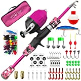 TQONEP Kids Fishing Pole, Portable Telescopic Fishing Rod and Reel Combo Kit with Spincast Fishing Reel Tackle Box for Boys, Girls, Youth (Pink, 120CM 47.24IN)