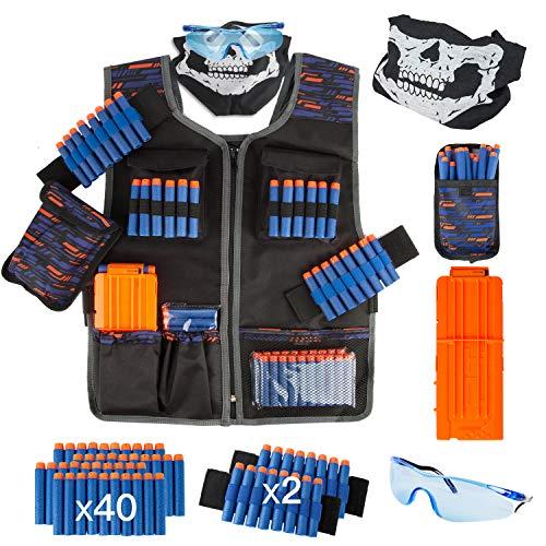 LVHERO - Kit de chaleco de combate Ultime para Nerf Guns N-Strike Elite Series con dardos, funda para dardos, pulsera, máscara facial, cargadores y gafas
