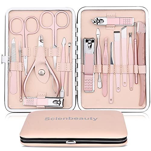 Scienbeauty 18pcs Tagliaunghie Set, Grooming Kit Strumenti per Manicure e Pedicure in Acciaio Inossidabile Tagliaunghie Set Professionale con box per Unghie di Viaggio