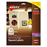 AVERY Square Labels, Laser & Inkjet Printers, Sure Feed, Print-to-The-Edge, 1.5' x 1.5', 600 Labels (22805), White