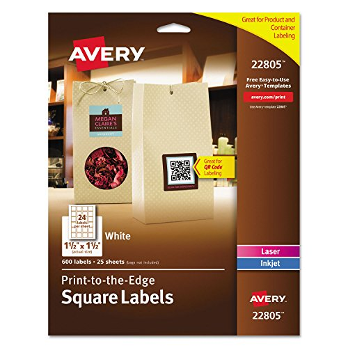 "Avery Square Labels for Laser & Inkjet Printers 1.5"" x 1.5"""