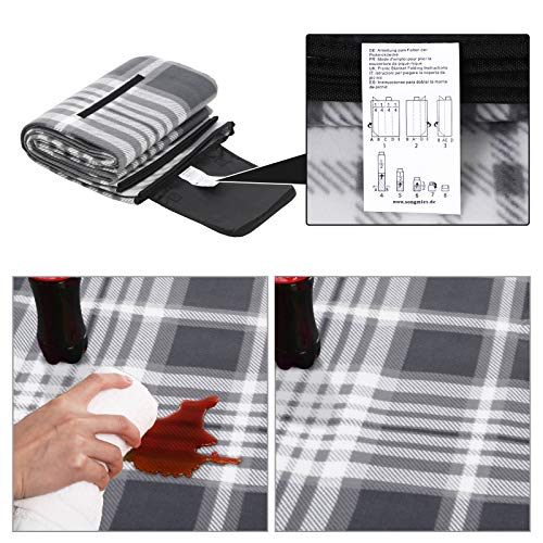 SONGMICS Picnic Blanket, 195 x 200 cm, Large Camping Mat and Rug for Outdoors, Beach, Park, Yard, with Waterproof Backing, Foldable, Grey and White GCM61GW