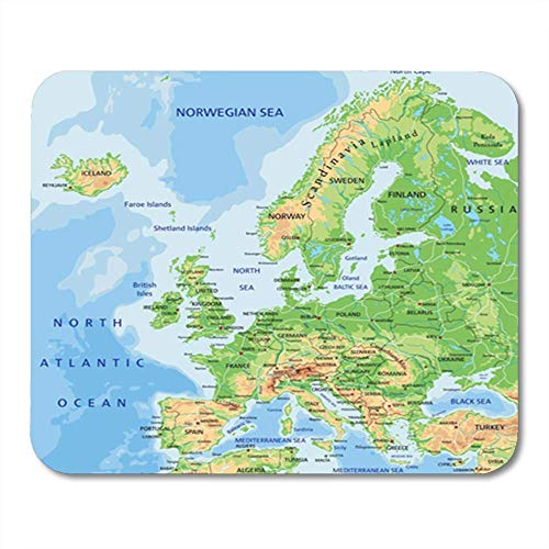 NA Alfombrilla de ratón Goma Mini Rectángulo Carretera Alto Detallado Europa Mapa físico Etiquetado Juego Europeo Accesorios para computadoras portátiles Soporte