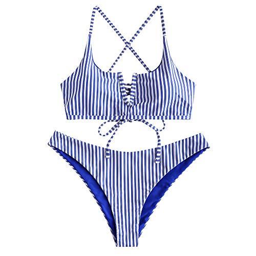 ZAFUL Women's V-Wired Striped Reversible Two Piece Bikini Set Strappy Swimsuit (Blue, L)