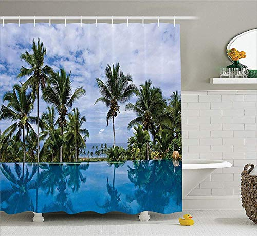 prz0vprz0v House Decor Shower Curtain Set, Infinity Pool with Palm Tree Reflections And Crystal Water in Tropical Resort Photo, Bathroom Accessories, 72 x 79 inch Bath Curtain Extra, Blue Green White