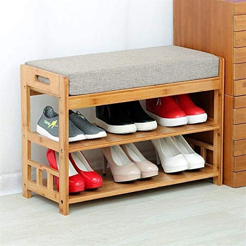 QZMX Estante de Zapatos Bambú Natural Zapatero, Bastidores del Zapato Simple de los Bastidores del Zapato de múltiples Funciones casera Estante